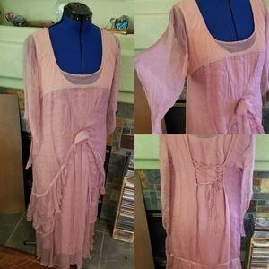 Natalya tea length vintage chiffon dress